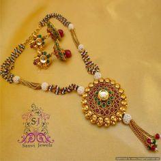 Antique polki kundan temple jewellery