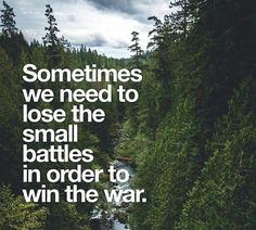 Sometimes we need to lose the small battles in order to win the war. 💯👌👍✌