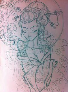 geisha sketch   Japanese geisha sketch by ~5stardesigns on deviantART - WOW WOW AND WOWWWWWWWWW LOVE IT!