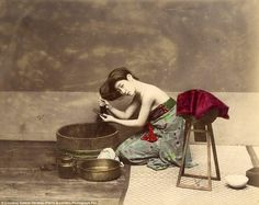Striking: A photo showing a woman combing her hair taken by Felice Beato between 1863 and ...