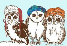 Owl Art Print  Owls Love Hats by corelladesign on Etsy Silly Hats, Owl Books, Large Art Prints, Rabbit Art, Owl Print, Love Hat, Cute Owl, Illustrations, Pencil Illustration