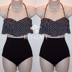 Black Polka Dots Flounce Halter Top  Black High Waist Bikini