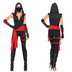 2013 New Hot Halloween Sexy Ninja Clothes Female Ninja Costume Woman Party Warrior Cosplay Fancy Dress Black Outfit J1157-in Costumes & Acce...