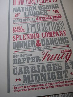 letterpress poster/invite/detail by Smith's Rules
