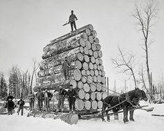 Lumberjacks At Work, 1890. Vintage Photo Digital Download. Black & White Photograph. Loggers, Horses, Michigan, Winter, Snow, Historical.