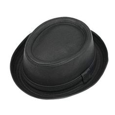 Vintage Unisex Pork Pie Trilby Hat Black Faux Leather Breaking Bad  Heisenberg Style  Black 52349815112b