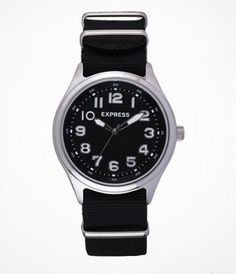 ANALOG NYLON STRAP WATCH - PITCH BLACK at Express...my kind of watch. Simple