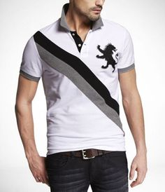 Fitted Large Lion Rugby Collar Polo Express Looks For