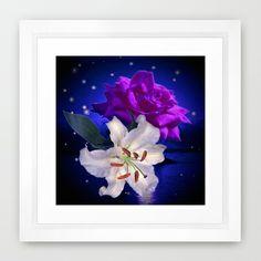 Magic Flowers  Framed Art Print by Elena Indolfi #Society6