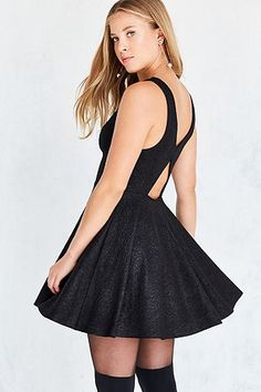 Silence + Noise Sinderella Black Sparkle Mini Dress - Urban Outfitters