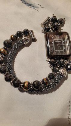 Купить часы ручной работы - серебряный, часы, часы ручной работы, гематит, гематитовые бусины