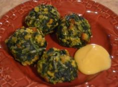 Spinach Balls with Honey Mustard Dipping Sauce #Parmesan #spinach #justapinchrecipes
