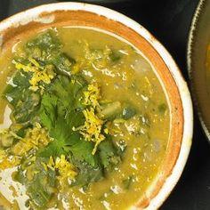 Red lentil and chard soup via Yotam Ottolenghi