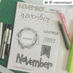 Já começamos a receber várias ideias para novembro! Compartilhe conosco por direct ou nos marcando na foto.  #Repost @creativeinkspot with @repostapp ・・・ Day 22 - November #planwithmechallenge playing catch up. As always my weekends are pretty hectic. This spread is dedicated to November headings. I love having this as it helps me to design my November monthly cover page. Which design do you like the most?? Comment below  #plan #planning #bujo #bulletjournal #bujocommunity #calendar #diar...