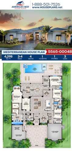 A dreamy Mediterranean home design, Plan 5565-00048 features 4,298 sq. ft., 3-4 bedrooms, 4.5 bathrooms, split bedrooms, a breakfast nook, an open floor plan, a bonus room, a sitting room, and a study. #architecture #houseplans #housedesign #homedesign #homedesigns #architecturalplans #newconstruction #floorplans #dreamhome #dreamhouseplans #abhouseplans #besthouseplans #newhome #newhouse #homesweethome #buildingahome #buildahome #residentialplans #residentialhome Best House Plans, Dream House Plans, Floor Plan Drawing, Mediterranean House Plans, Stucco Exterior, Cost To Build, Study Architecture, Floor Framing, Build Your Dream Home