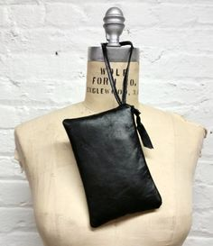 Black leather clutch / Simple black wristlet / by GirlGeniusGoods