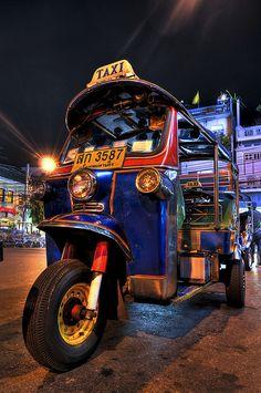 The famous transportation in Thailand  (Tuk-tuk)