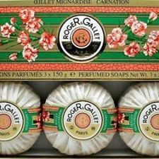 Roger & Gallet Oeillet Mignardise Carnation Perfumed Soaps 3 Soaps - 5.2 oz MIB