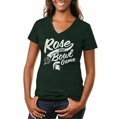 Michigan State Spartans 2014 Rose Bowl Bound Ladies Vintage Tri-Blend V-Neck T-Shirt