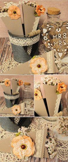 Conos kraft para las flores de la boda.