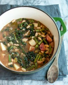 Recipe: Easy Green Minestrone  Add some extra garlic, ground chicken or turkey, sliced red onions and whole mushrooms.  All or some combination.