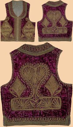 Antique Turkish vest ('yelek'). Silver embroidery on silk velvet. Late-Ottoman, 19th century.
