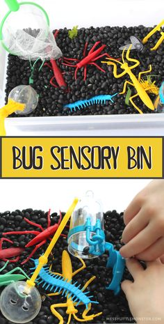 Bug sensory bin fine motor activity for toddlers and preschoolers. Easy bug activities for kids. Creative Activities For Kids, Spring Activities, Craft Activities For Kids, Infant Activities, Spring Crafts For Kids, Crafts For Kids To Make, Kids Crafts, Sensory Bins, Sensory Play