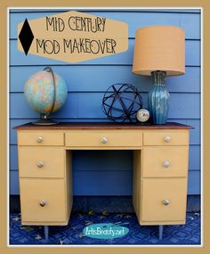 ART IS BEAUTY: Handmade desk Turned MID CENTURY MOD You won't believe what this desk looks like now! Come on over and see the full makeover of this handmade desk turned MOD MID CENTURY http://arttisbeauty.blogspot.com/2014/10/handmade-desk-turned-mid-century-mod.html #furnituremakeover #modfurniture #midcenturymodern #desk #makeover #artisbeauty #paintedfurniture