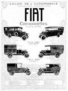 1925 Fiat Trucks vintage French ad. Features six models and tonnage limits.