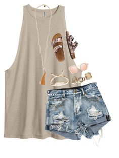 #summer #outfits / tank top + ripped denim shorts