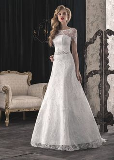 40% Off Until January 20 Romantic, Corset, Elegant Lace White/Ivory Wedding Dress that Features Illusion Neckline, Gown with sleeves, Buy Designer