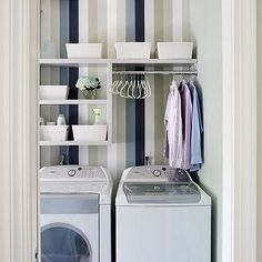 White Laundry Room with Blue and Gray Striped Wallpaper