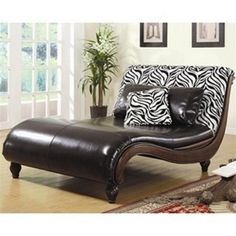 Eye catching Zebra Animal Print / Faux Leather Chaise Lounge Chair