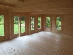 Garden room flooring Large Garden Room D Wooden Summer House, Garden Log Cabins, Floor Insulation, Log Homes, Plank, Garden Design, Windows, Flooring, Room