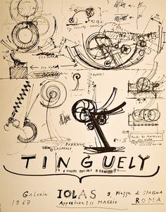 A page of notes & sketches for an exhibition in 1967 from JEAN TINGUELY