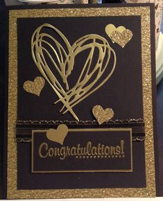 Golden Anniversary card using Sizzix Jim Holtz Scribbles and Splat heart die
