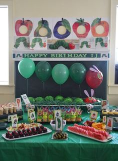 The Very Hungry Caterpillar Birthday Party! So cute for when I have a kid! I love Eric carle! Happy Birthday, First Birthday Parties, Birthday Party Themes, First Birthdays, Birthday Ideas, 3rd Birthday, Birthday Banners, Birthday Invitations, Birthday Quotes
