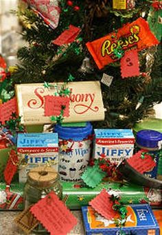 "Food gift ideas (ex: Jolly Rancher soft chews  We ""chews"" to wish you a ""jolly"" holiday season!)"