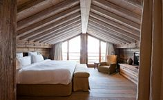 I want this bedroom. I love rustic, log cabin, cottage style...warm and cozy. Take notice of the fireplace and great hearth.    New Chalet Living