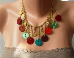 Golden Color Beige and Brown Button Necklace with by SwedishShop