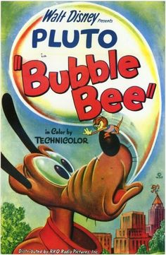 """Bubble Bee"" Pluto  Spike the Bee Disney Cartoon short movie poster"