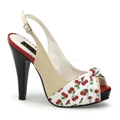 White Cherry Print & Nude Bettie Peep Toe Shoes - Unique Vintage - Homecoming Dresses, Pinup & Prom Dresses.