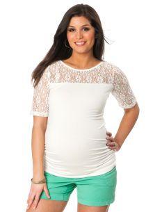 Motherhood Maternity Elbow Sleeve Boat Neck Lace Maternity T Shirt