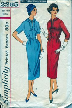 Vintage 1950's Women's Dress Pattern, Simplicity 2265 Sewing Pattern, Size 16 1/2