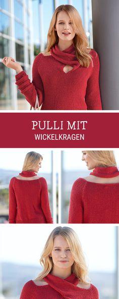 Strickanleitung: Pullover mit ausgefallenem Wickelkragen stricken / knitting diy for a casual long pullover with wraparound collar via DaWanda.com