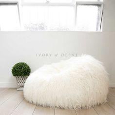 Large Cream SHAGGY FUR BEAN BAG Cover Cloud Chair Beanbag For