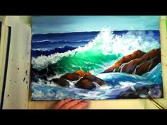 """Part 2: How to Paint a """"Translucent Ocean Wave on the Rocks""""- Ginger Cook's Master Class Painting - YouTube"""