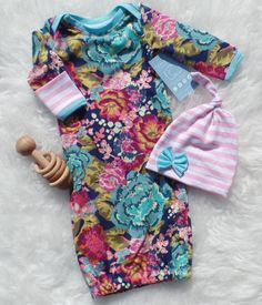 Aqua floral baby girl gown