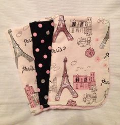 Paris Theme Minky Burp Cloth Set on Etsy, $15.00 @Kathryn McRee I know this will just be for like spit up and everything but its tooooooo cute.