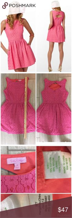 Lilly Pulitzer Aleesa dress Hotty pink/Petal Pusher. Tiny bit of overall wear. Pink with orange accents and lining. Feel free to ask questions! Lilly Pulitzer Dresses